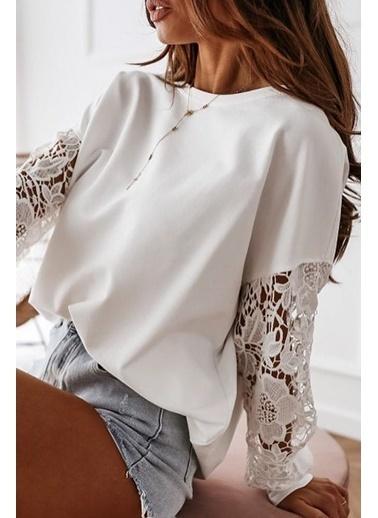 BLACK&GRACE Beyaz Dantel Detaylı 2 İplik Bluz Beyaz